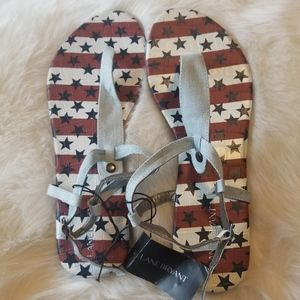 Lane Bryant Sandals Denim Ankle Buckle Stars Strip